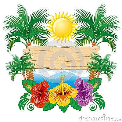 Escritura de la etiqueta tropical