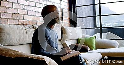 Escritura del hombre mayor en un diario en la sala de estar 4k almacen de video