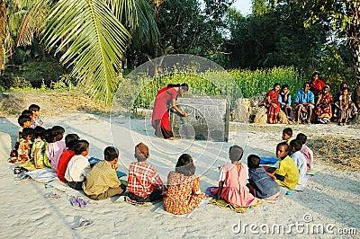 Escuela de la aldea. Foto editorial