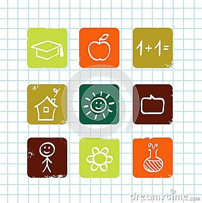 Escuela del Doodle y colección de los iconos de la educación