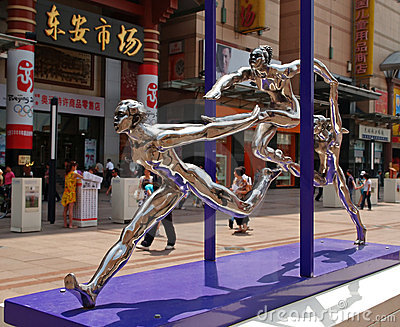 Esculturas olímpicas 2008 de la ciudad del verano de Pekín Fotografía editorial