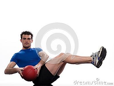 Esercitazione di posizione di Worrkout della sfera di forma fisica dell uomo