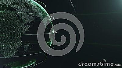 Esfera abstracta cosechado Puntos verdes conectados con las líneas Interfaz de la globalización El planeta está moviendo encendid