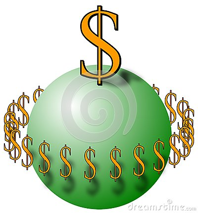 Esfera com sinais de dólar