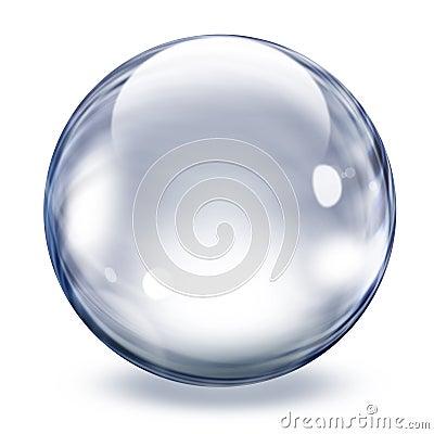 Esfera de cristal transparente