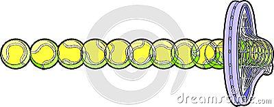 Esfera de tênis que bate a raquete