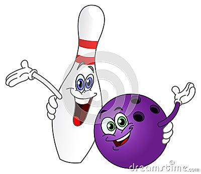 Esfera e pino de bowling