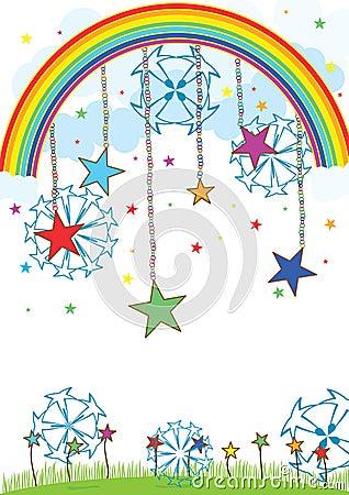 Esferas da estrela sobre o céu
