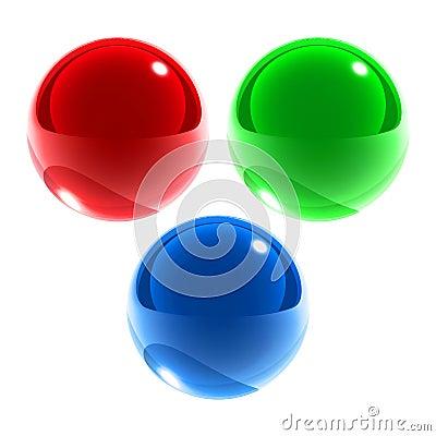 Esferas de cristal azulverdes rojas aisladas