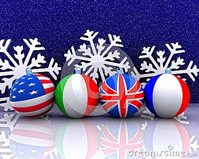 Esferas do Natal com bandeira - 3D