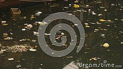 Esgoto sujo na cidade Ásia video estoque