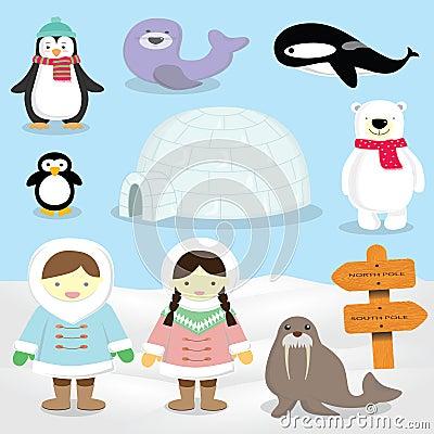 Eskimo,North Pole ,Inuit People Arctic Animals Stock ...