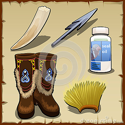 Eskimo set of tusk, harpoon, hat and seal fat Vector Illustration