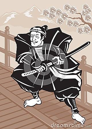 Espada japonesa del guerrero del samurai en el puente