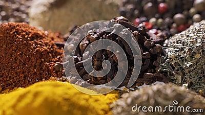 Especiarias Várias especiarias indianas sobre mesa de madeira Assornos de terra, condimentos Ingredientes, sabor Lento filme