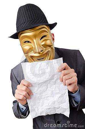 Espionage concept - masked man on white