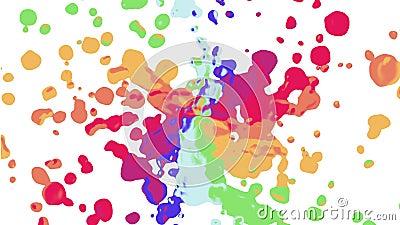 A espiral do arco-íris colorida chapinha a mancha que espalha original novo de pintura abstrato movente turbulento do fundo da an filme