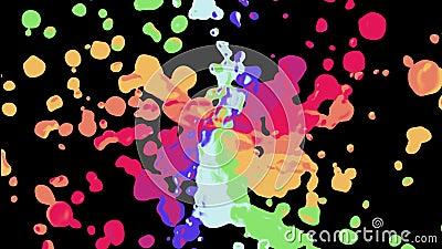 A espiral do arco-íris colorida chapinha a mancha que espalha original novo de pintura abstrato movente turbulento do fundo da an vídeos de arquivo