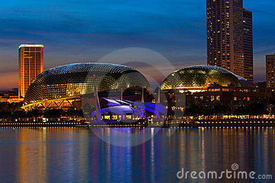 Esplanade Theatre in Singapore in the evening Editorial Photo