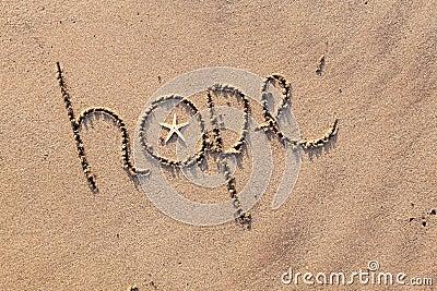 Espoir écrit en sable