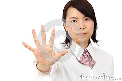 Esposizione asiatica della donna di affari di Yound NESSUN gesto