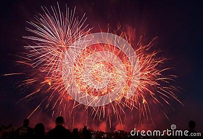 Esposizione dei fuochi d artificio del U.S.A.F. di RAF Feltwell Fotografia Stock Editoriale