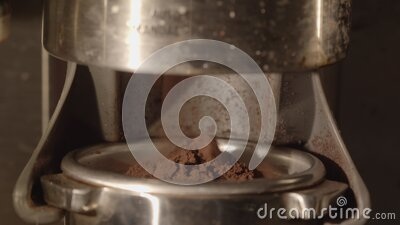 Espresso beans being grinded for coffee drink 6k macro stock footage
