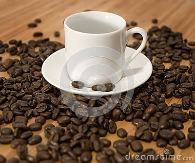 Espresso Coffee Beans with Cup and Saucer