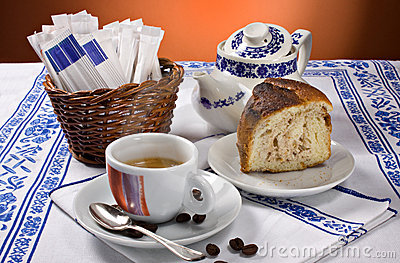 Espresso coffee and cake