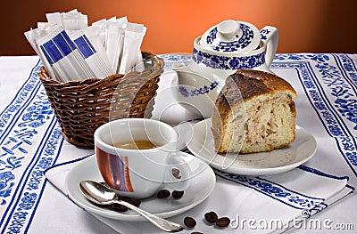 Espresso coffee and cake