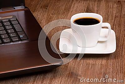 Espresso coffee with laptop