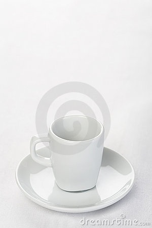 Free Espresso Cup On White Tablecloth Stock Photography - 14031352