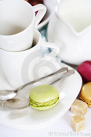 Espresso cups and macaroons