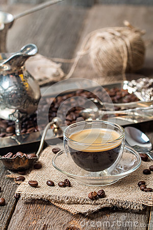 Free Espresso Glass Cup With Coffee Bean Stock Photos - 62243503