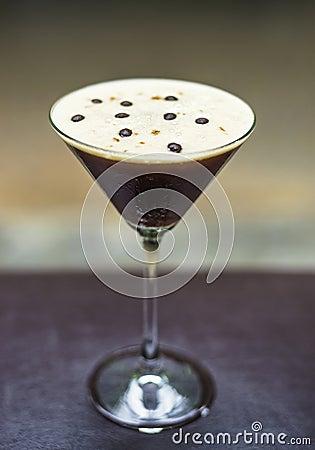 Espresso martini alcoholic cocktail drink