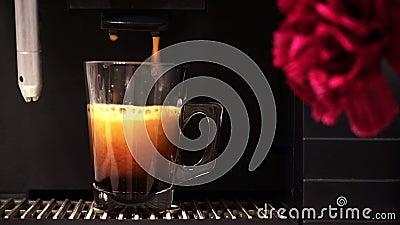 Espresso-Maschine, die frischen Kaffee in Glasschale gießt stock footage