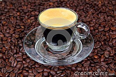 Espresso in a transparent cup