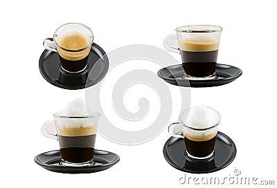 Espresso-und Cappuccino-Ansammlung