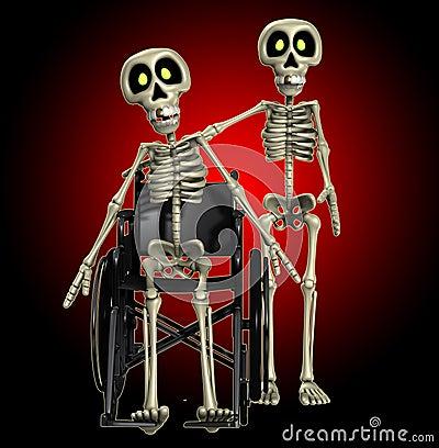 Esqueleto que ajuda um esqueleto incapacitado