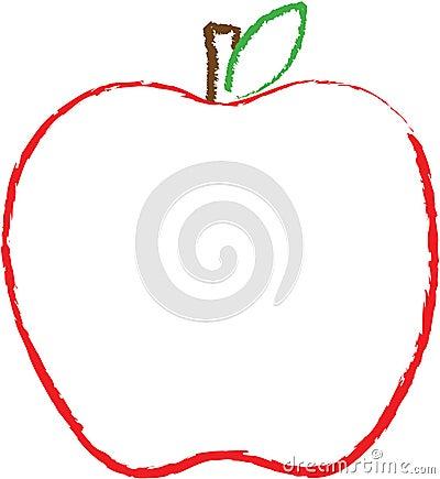 Esquema de una manzana roja grande