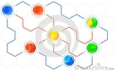 Esquema en enlace de hexágonos