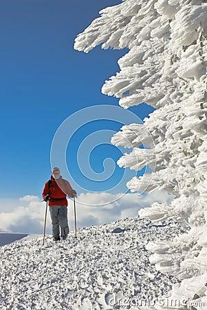 Esquiador en la tapa de la colina cerca de la figura del hielo