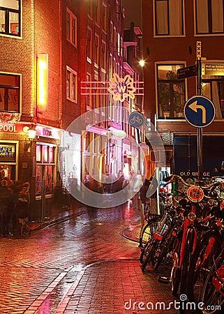 Esquina da rua de Amsterdão Imagem de Stock Editorial