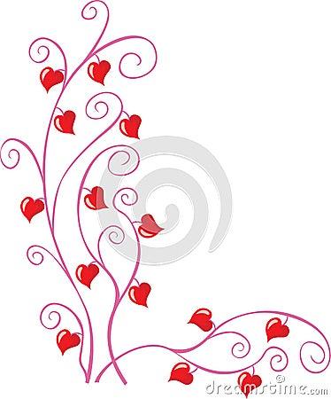 Esquina de la tarjeta del día de San Valentín