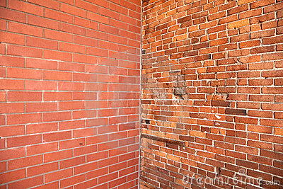 Esquina en pared de ladrillo