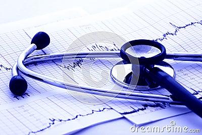 Essai et stéthoscope de cardiologie