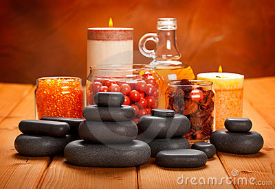 Essential oil, bath salt and stones