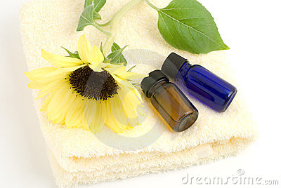 Essential oil on the yellow towel