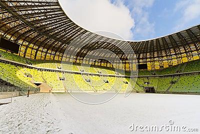 Estádio recentemente construído da arena de PGE em Gdansk Fotografia Editorial