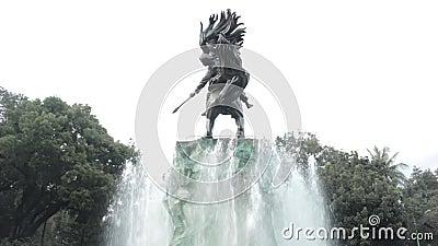 Estátua de Diponogoro em Jakarta perto do parque de Suropati vídeos de arquivo